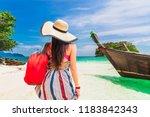 traveler woman in summer dress... | Shutterstock . vector #1183842343