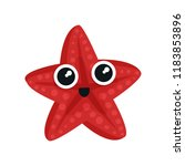 cute red sea star with big... | Shutterstock .eps vector #1183853896