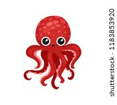 cute red octopus with big shiny ... | Shutterstock .eps vector #1183853920
