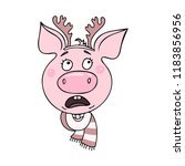 portrait of cute pig with an...   Shutterstock .eps vector #1183856956