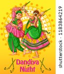 vector design of indian couple... | Shutterstock .eps vector #1183864219