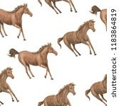 Stock photo watercolor painting seamless pattern with running horses 1183864819