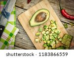 avocado and hot chili pepper.... | Shutterstock . vector #1183866559