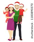 christmas family portrait.... | Shutterstock .eps vector #1183890370