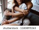 stylish interior. a couple near ...   Shutterstock . vector #1183895263