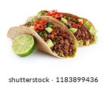 mexican tacos with beef ... | Shutterstock . vector #1183899436