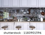 classic kitchen with wooden and ... | Shutterstock . vector #1183901596