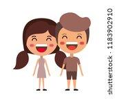 cartoon happy couple kawaii... | Shutterstock .eps vector #1183902910