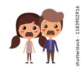 cartoon furious couple kawaii... | Shutterstock .eps vector #1183902916