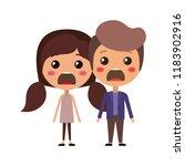 cartoon furious couple kawaii...   Shutterstock .eps vector #1183902916