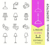 lighting icons set. black... | Shutterstock .eps vector #1183907929