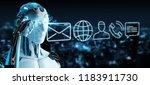 white cyborg on blurred...   Shutterstock . vector #1183911730