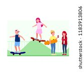 teenagers playing skaterboard ... | Shutterstock .eps vector #1183913806