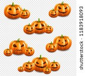 pumpkin set isolated... | Shutterstock .eps vector #1183918093