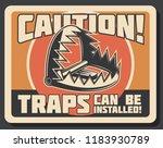 hunter trap warning retro... | Shutterstock .eps vector #1183930789