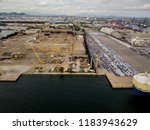 aerial view of logistics... | Shutterstock . vector #1183943629