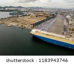 aerial view of logistics... | Shutterstock . vector #1183943746
