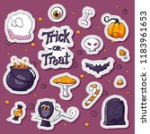 happy halloween cartoon... | Shutterstock .eps vector #1183961653