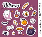 set of happy halloween cartoon... | Shutterstock .eps vector #1183961656