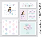 cute birthday cards set for... | Shutterstock .eps vector #1183966450