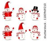christmas snowmen set  isolated ... | Shutterstock .eps vector #1183969210