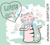 cute cat doodle cartoon  vector ... | Shutterstock .eps vector #1183971679