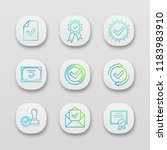 approve app icons set. document ...