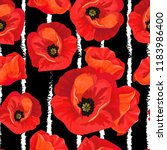 red poppies on a striped black... | Shutterstock .eps vector #1183986400