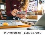 digital marketing media in... | Shutterstock . vector #1183987060