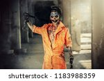 crazy evil clown man stained in ... | Shutterstock . vector #1183988359