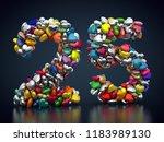 3d rendering  number 25 made... | Shutterstock . vector #1183989130