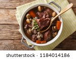 coq au vin   french food slowly ... | Shutterstock . vector #1184014186