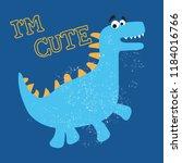 cute dino doodle print  vector... | Shutterstock .eps vector #1184016766