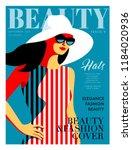 fashion girl wearing striped... | Shutterstock .eps vector #1184020936