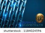golden bitcoin digital currency ... | Shutterstock . vector #1184024596