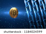 golden bitcoin digital currency ... | Shutterstock . vector #1184024599