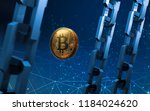 golden bitcoin digital currency ... | Shutterstock . vector #1184024620
