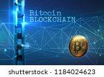 golden bitcoin digital currency ... | Shutterstock . vector #1184024623