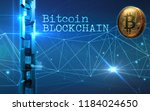 golden bitcoin digital currency ... | Shutterstock . vector #1184024650