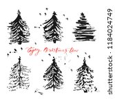 hand drawn ink christmas tree... | Shutterstock .eps vector #1184024749