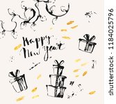 hand drawn ink christmas and... | Shutterstock .eps vector #1184025796