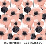 pastel pink poppy floral... | Shutterstock .eps vector #1184026690