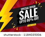 sale banner template red | Shutterstock .eps vector #1184035006