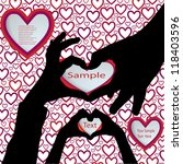 hands silhouettes with hearts | Shutterstock .eps vector #118403596