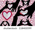 hands silhouettes with hearts | Shutterstock .eps vector #118403599