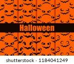 halloween seamless patterns set.... | Shutterstock .eps vector #1184041249
