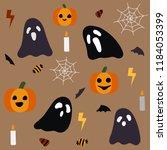 happy halloween seamless... | Shutterstock .eps vector #1184053399