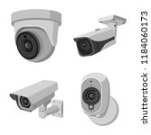 vector illustration of cctv and ... | Shutterstock .eps vector #1184060173
