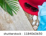 flat lay traveler accessories... | Shutterstock . vector #1184063650