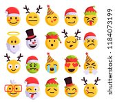 christmas emoji funny and cute... | Shutterstock .eps vector #1184073199